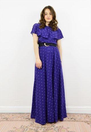 Vintage+80s+navy+blue+polka+dot+occasion+maxi+dress