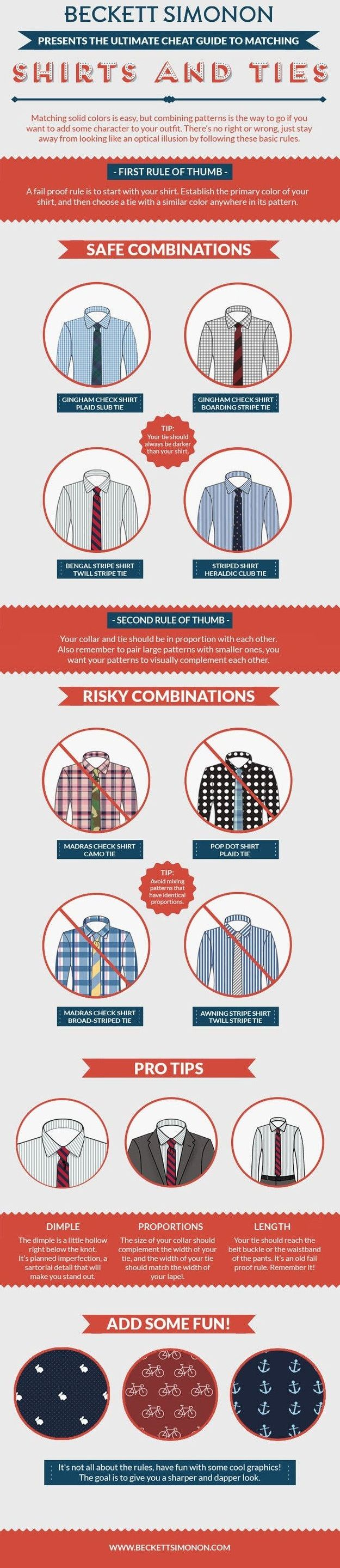 how to match shirt & tie patterns, perfect guide for shirt & tie combinations