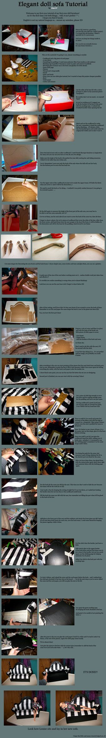 Elegant doll sofa tutorial by *MarsW on deviantART