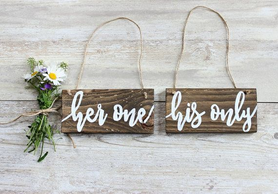 Rustic Wedding Decor, Rustic Wedding Photo Props, Engagement Photo Props, Wedding Chair Signs, Her One His Only, Her One Her Only, Mr & Mrs Check out this item in my Etsy shop https://www.etsy.com/uk/listing/450564560/rustic-wedding-decor-rustic-wedding