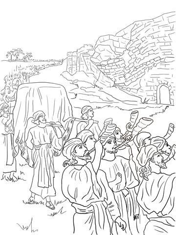 Joshua And The Fall Of Jericho Coloring Page From Category Select 20946 Printable Crafts Cartoons Nature Animals Bible Many More