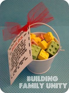 """YW Handout...Candy Lego Building Blocks """"Building Family Unity"""" quote attached"""