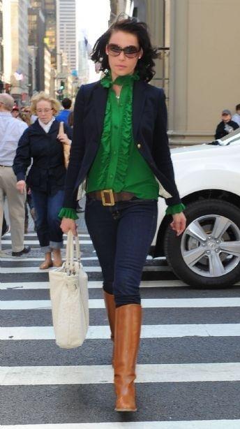 Green top, navy blazer, boots