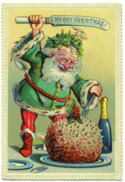 1870 - leprechaun santa eats a big chestnut thing without removing the stabbies, implementing his trusty butter knife that says 'merry christmas' because as we know all knives say such things