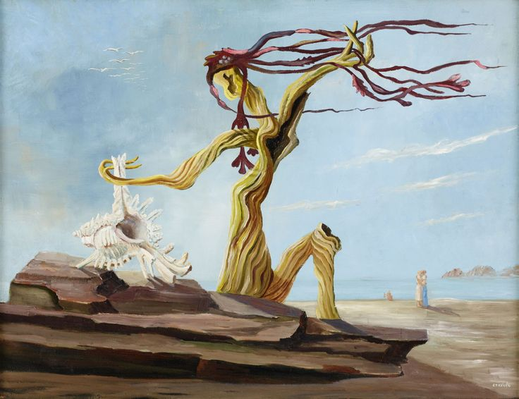 Esaias Thorén (Swedish, 1901-1981), Stranden. Oil on canvas, 89 x 116 cm.