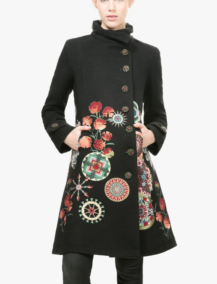 Desigual Black Fall Winter Coat Desigual Coats