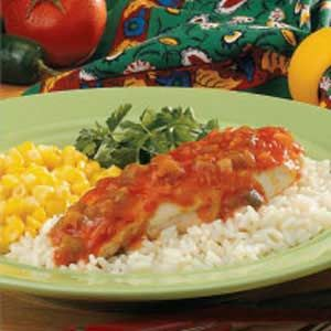 Chicken Picante...I use cream cheese and a bit of cheddar cheese on top. Amazing..one of my favorite meals