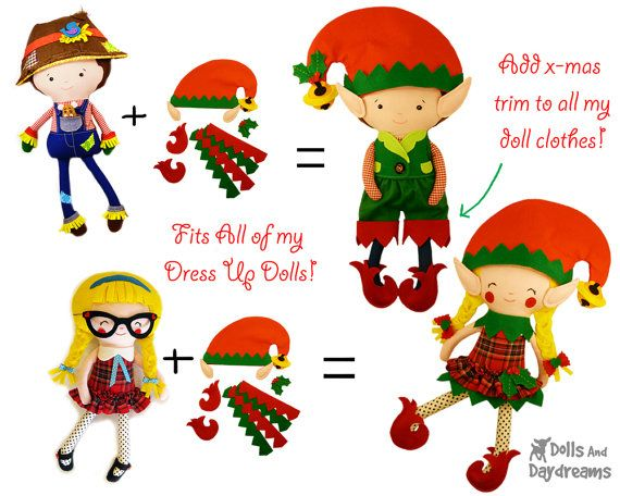 Elf Doll Clothes Sewing Pattern PDF DIY Dress up Christmas Elves Toy ...