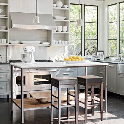 open shelves: Cabinets, Black Window, Open Shelves, Small Kitchens, Islands, Steel Window, Modern Kitchens, Corner Window, White Kitchens
