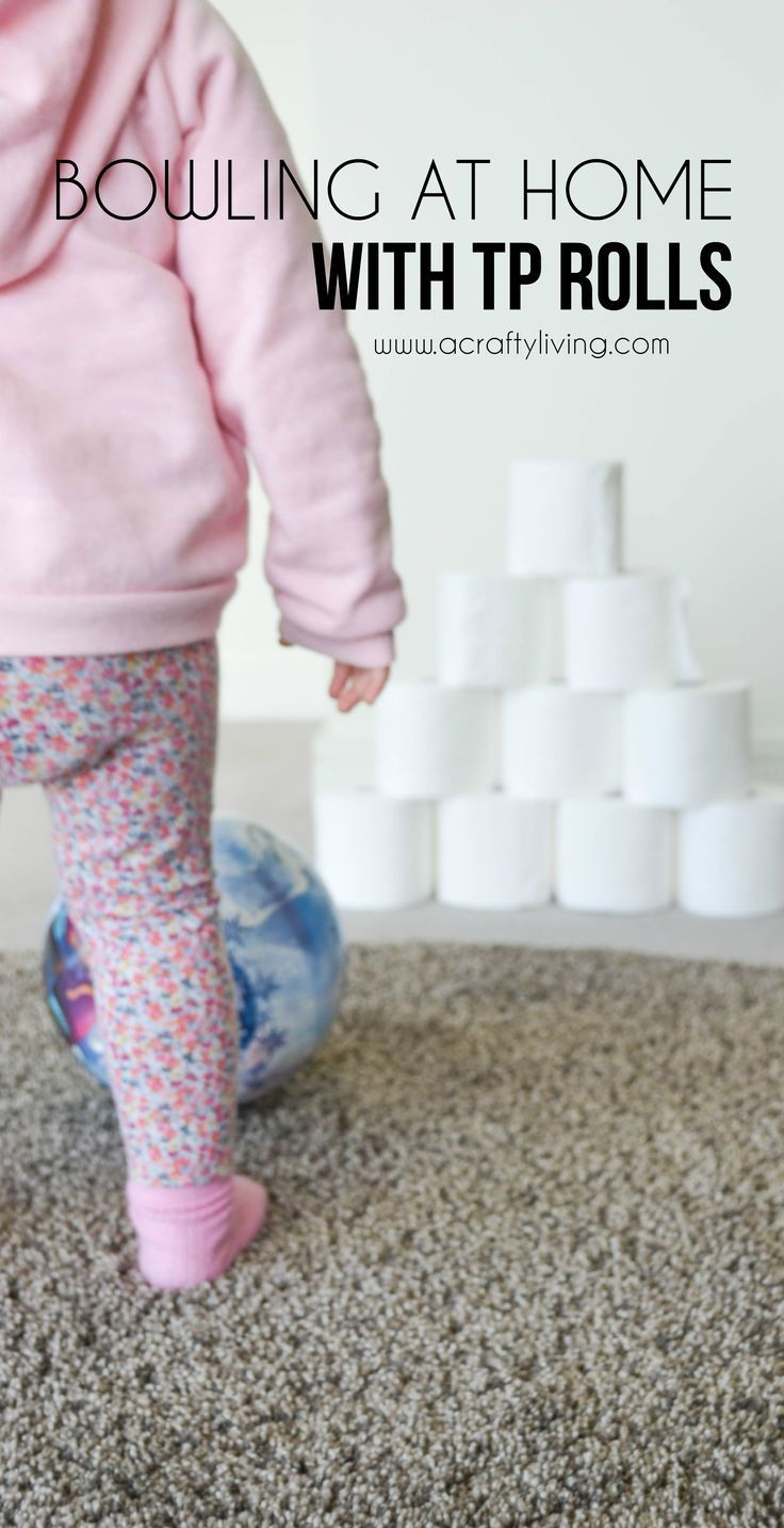 Rain (or snow) day activity, keeping your toddlers & preschoolers active indoors! Combining gross motor development with hand/eye - foot/eye coordination & a whole lot of fun! www.acraftyliving...