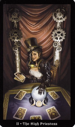 More beautiful Tarot card artwork from the Steampunk Tarot card deck.  - Indicates a strong ability to tap into the truth of a situation. Your intuition - hat gut feeling. If reversed, the card indicates that time is needed to really listen to what your heart and intuition is telling you - you may be feeling and thinking something repeatedly but putting it aside for whatever reason.