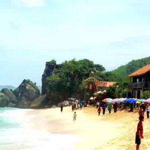 visitors at indrayanti beach yogyakarta indonesia