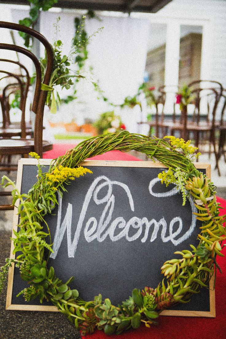 Sarah and Tims Wedding Welcome Wreath by Stephanie Belle for Here comes the Truck: Weddings and Events