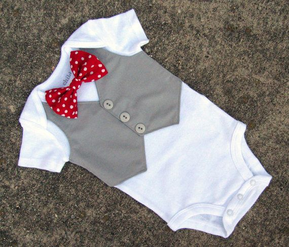 Baby Boy Valentine's Day Shirt - Custom Tuxedo Bodysuit Polka Dot Red Bow tie - Perfect 1st Birthday or Wedding Outfit - LS version on Etsy, $28.00
