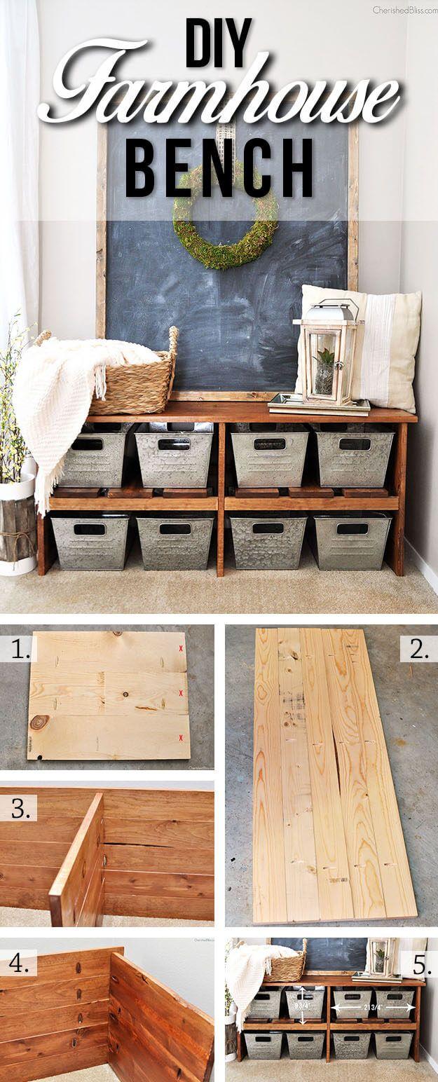 DIY Farmhouse Bench With Bins