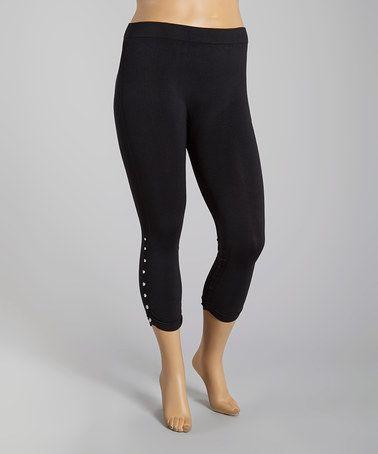 Look what I found on #zulily! Black Button-Detail Crop Leggings - Plus #zulilyfinds