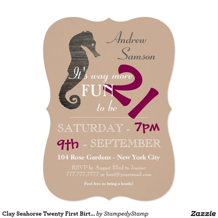 Clay Seahorse Twenty First Birthday Invitation | BIRTHDAY ...