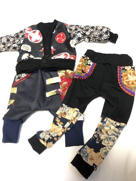 キッズ和柄カーディガン、くしゅくしゅレギンス、デニムサルエルパンツ 男の子-手作り子供服の通販店『神の手』