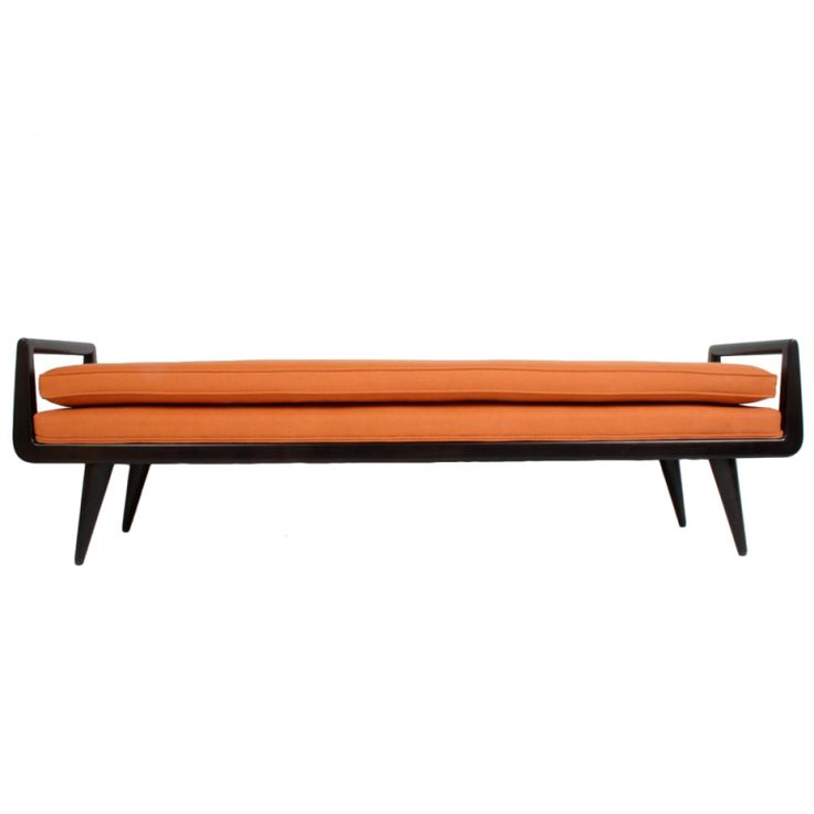 1stdibs - Mid-Century Modern mahogany bench with burnt orange upholstery explore items from 1,700  global dealers at 1stdibs.com