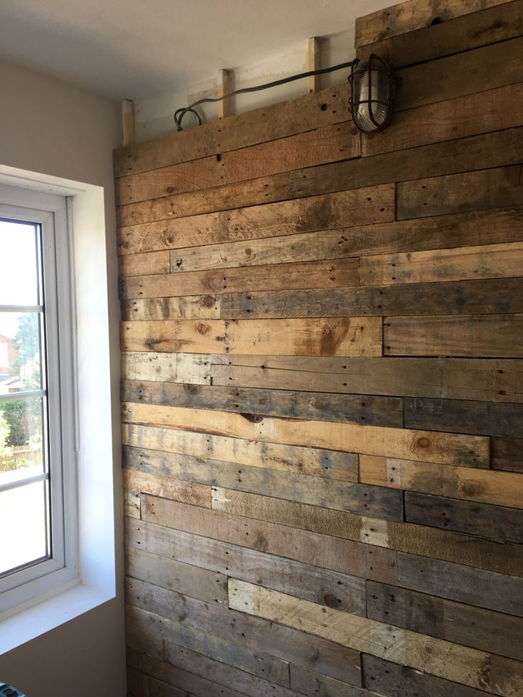 Almost Complete Pallet Wood Wall Cladding To My Home Study