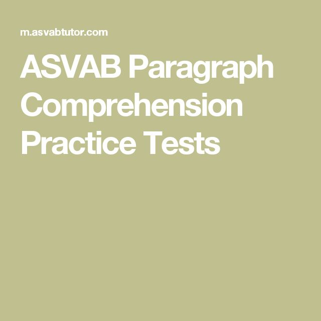 ASVAB Paragraph Prehension Practice Tests