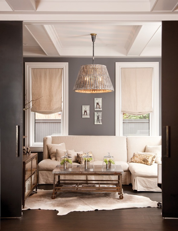 i like the dark grey walls with bright white trim.