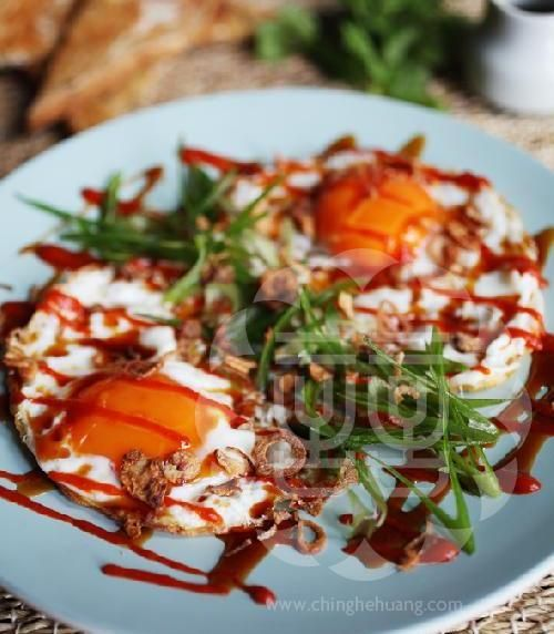 Fried Egg With Oyster Sauce & Chili Recipe — Dishmaps