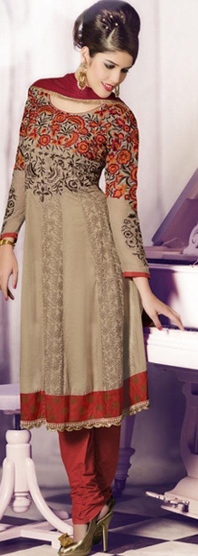 $153.02 Brown Full Sleeve Faux Georgette Knee Length Anarkali Salwar Kameez 19719