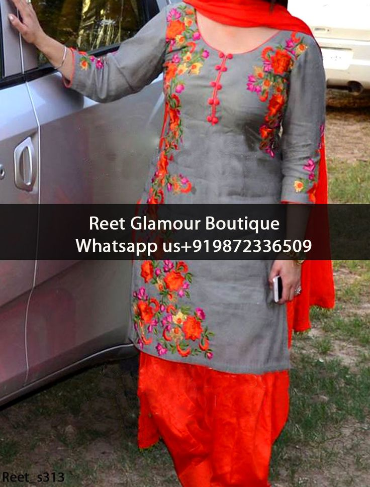 Sparkling Gray Embroidered Punjabi Suit Product Code : Reet_s313 To Order, Call/Whats app On +919872336509 We Offer Huge Variety Of Punjabi Suits, Anarkali Suits, Lehenga Choli, Bridal Suits,Sari, Gowns Etc .We Can Also Design Any Suit Of Your Own Design And Any Color Combination.