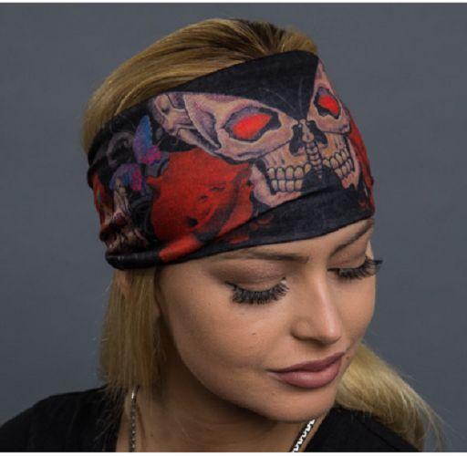 Skull Butterfly and Roses Reversible Head Wrap Headband Road Wrap  | eBay