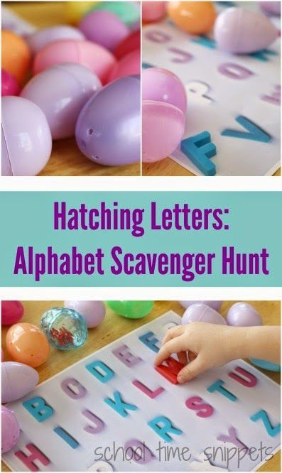 """""""Hatching Letters"""": Easter Egg Alphabet Scavenger Hunt & Matching Activity (from School Time Snippets)"""