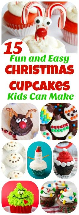 Perfect for Christmas parties, bake-sales, and potlucks!! Christmas Cupcakes Kids Can Make: 15 Holiday Treats!