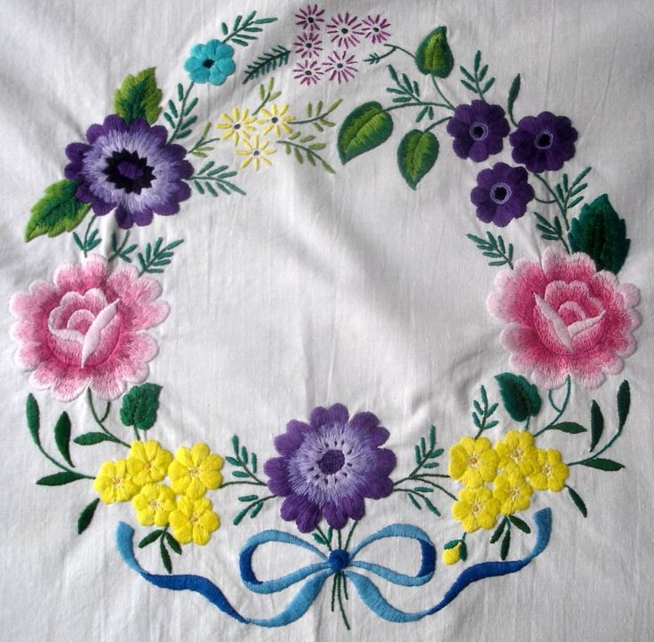 Vintage Hand Embroidered Colourful Daisy Garlands Tablecloth