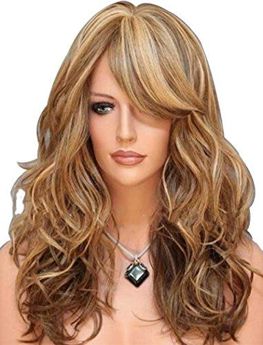 Tsnomore Three Tones Blonde Auburn Mix Long Natural Wavy Women Synthetic Wig *** Continue to the product at the image link.(This is an Amazon affiliate link and I receive a commission for the sales)