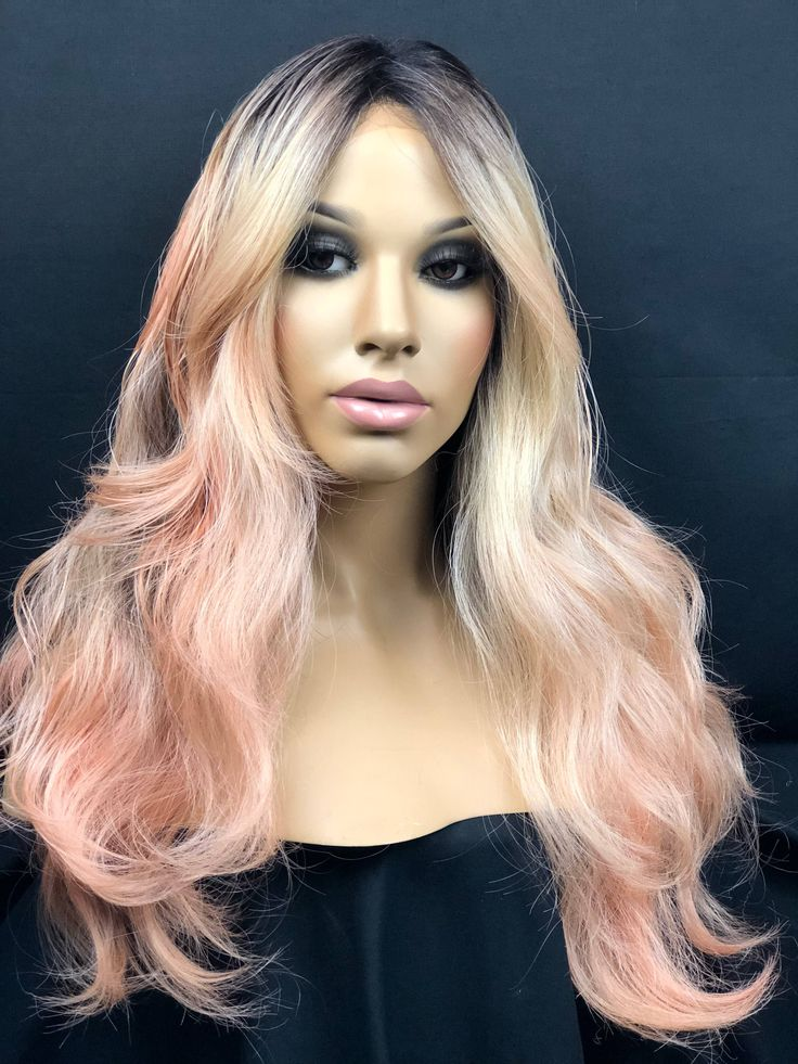 Excited to share the latest addition to my #etsy shop: Rose Gold Wig, Ombre Blonde Wig, Rose Gold Lace Front Wig, Human Hair Blend Lace Wig, Heat Safe Wig
