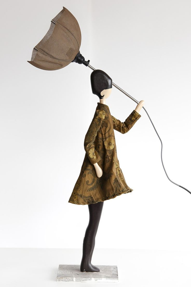 Skitso Design Artistic Table Floor Lamp Retro Puppet as Lady with Umbrella Handcrafted Uplighter #skitsolamp #floorlamp #designlamp #design #umbrellalamp #retrolamp #handcraftedlamp #woodenlamp #loftlamp #loft #luxurylamp #puppetlamp Available at Vintagist.com