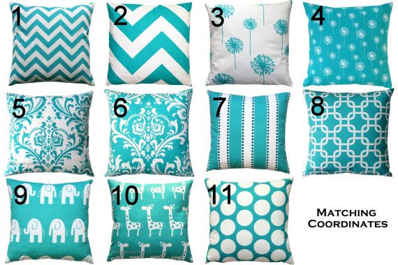 Premier Prints Turquoise Pillow Cover- 16x16 inches- Hidden Zipper Closure- You Choose on Etsy, $16.95