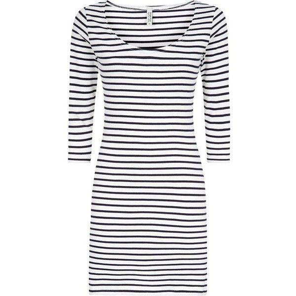 Stripe Bodycon Dress (90 BRL) ❤ liked on Polyvore featuring dresses, striped bodycon dress, bodycon dresses, long white dress, long navy dress and long navy blue dress