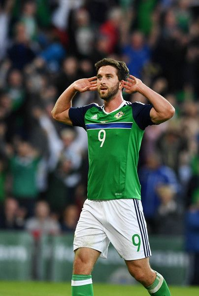 Will Grigg of Northern Ireland celebrates after scoring during the international friendly game between Northern Ireland and Belarus on May 26, 2016 in Belfast, Northern Ireland.