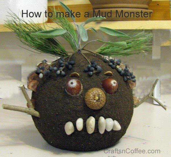 easy monster craft for kids made using mud, found items and a ball of STYROFOAM