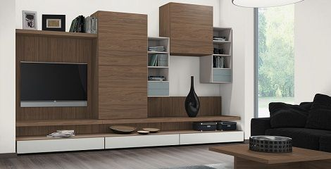 H3710 ST9 Natural Carini Walnut used as cupboard door fronts, carcass with accent colour U636 Fjord in this Living area.