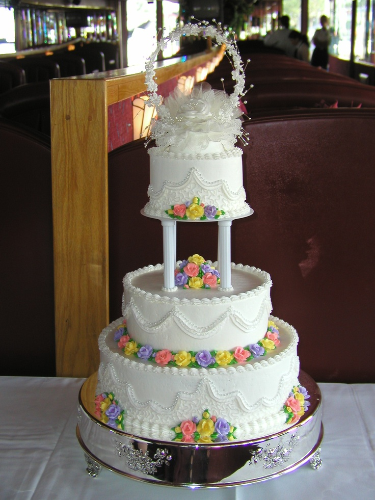 Pastoral Wedding Cake, buttercream iced with multi color ...