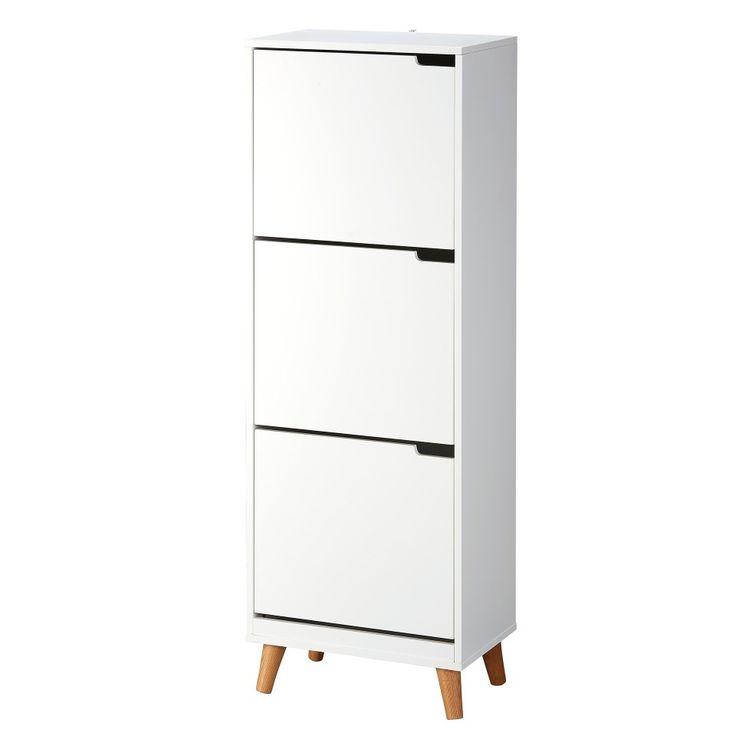 Schuhschrank Mitra (3 Schubladen, Eiche, weiß) - Dänisches Bettenlager