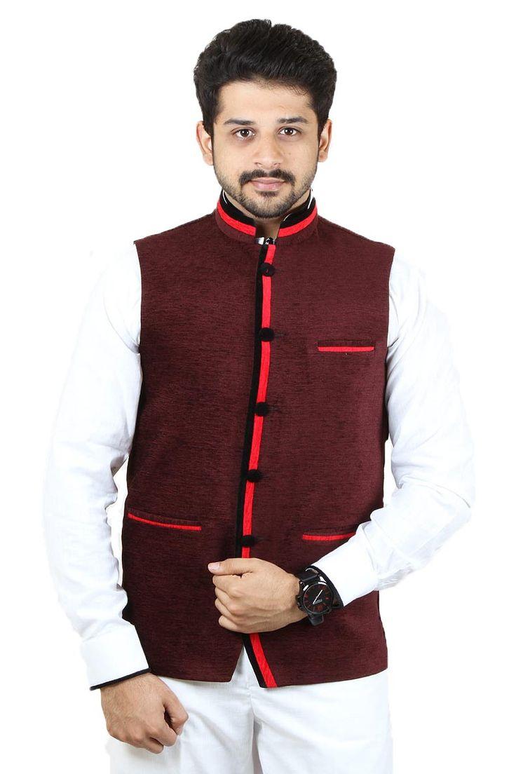 Buy Maroon Color Rai Sahab Modi Jacket For Men Online in India