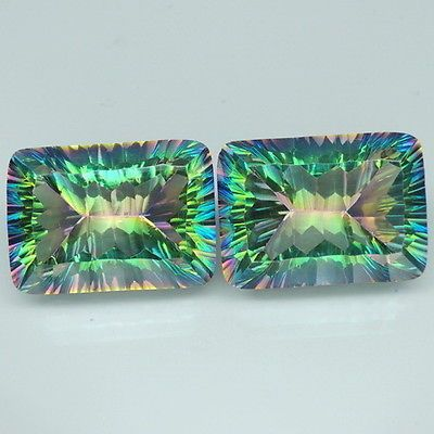 Phenomenal-Pair-30-35ct-Green-Rainbow-Mystic-Topaz-Emerald-Concave