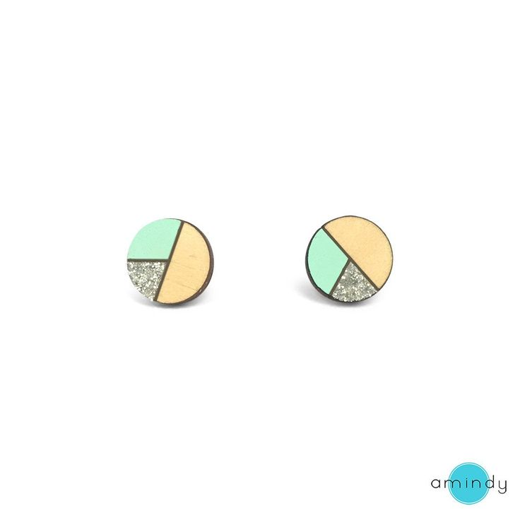 Amindy  - Hand painted Circle Sliced Earrings - Mint & Silver Glitter - $22 - Shop online at www.amindy.com.au