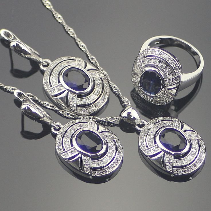 Romantic Blue Created Sapphire White Topaz 925 Sterling Silver Jewelry Sets For Women Earrings/Pendant/Necklace/Rings Free Box