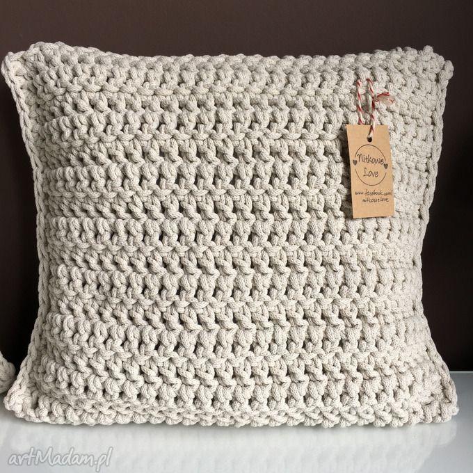 Poduszka sznurka bawełnianego krem 40x40 poduszki nitkowelove