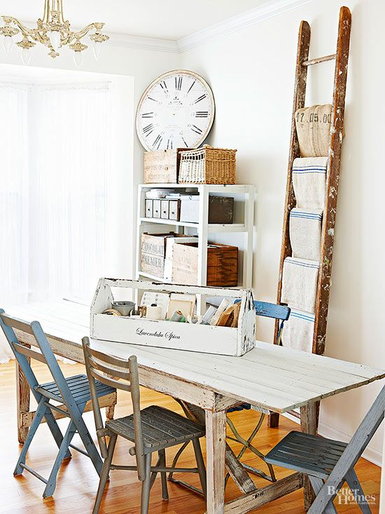 Utilize a ladder to organize linens. Drape towels, tablecloths, and napkins over the rungs. And a bonus to this method: your linens will incur fewer wrinkles than if they were stuffed into a drawer.
