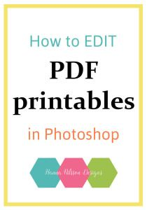 How to edit PDF printables in Photoshop - Tutorial Have you found the PERFECT printable PDF online? Well, almost perfect. There's just this title you'd like to change. Do you love the graphic, but the font is a no no? Don't give up on that almost perfect printable just yet! First, have a look at these SIMPLE steps to EDIT that tile and CHANGE that font, and turn that Almost perfect inti 100% perfect. Click through to this priceless TUTORIAL that's actually completely free!